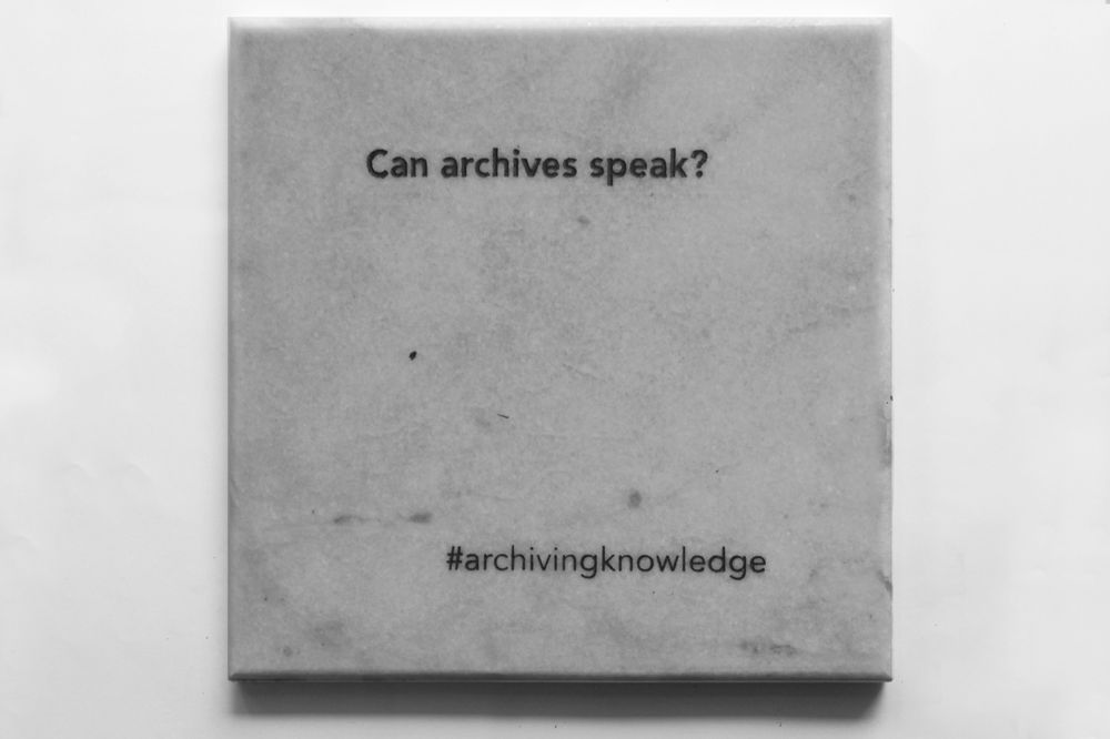 Can Archives speak?, From the series: Archiving Knowledge, hand engraved marble, 2018