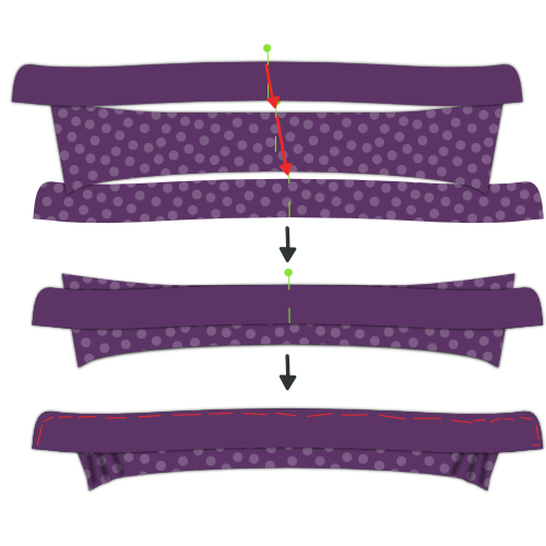Place collar between collar stands and baste in place