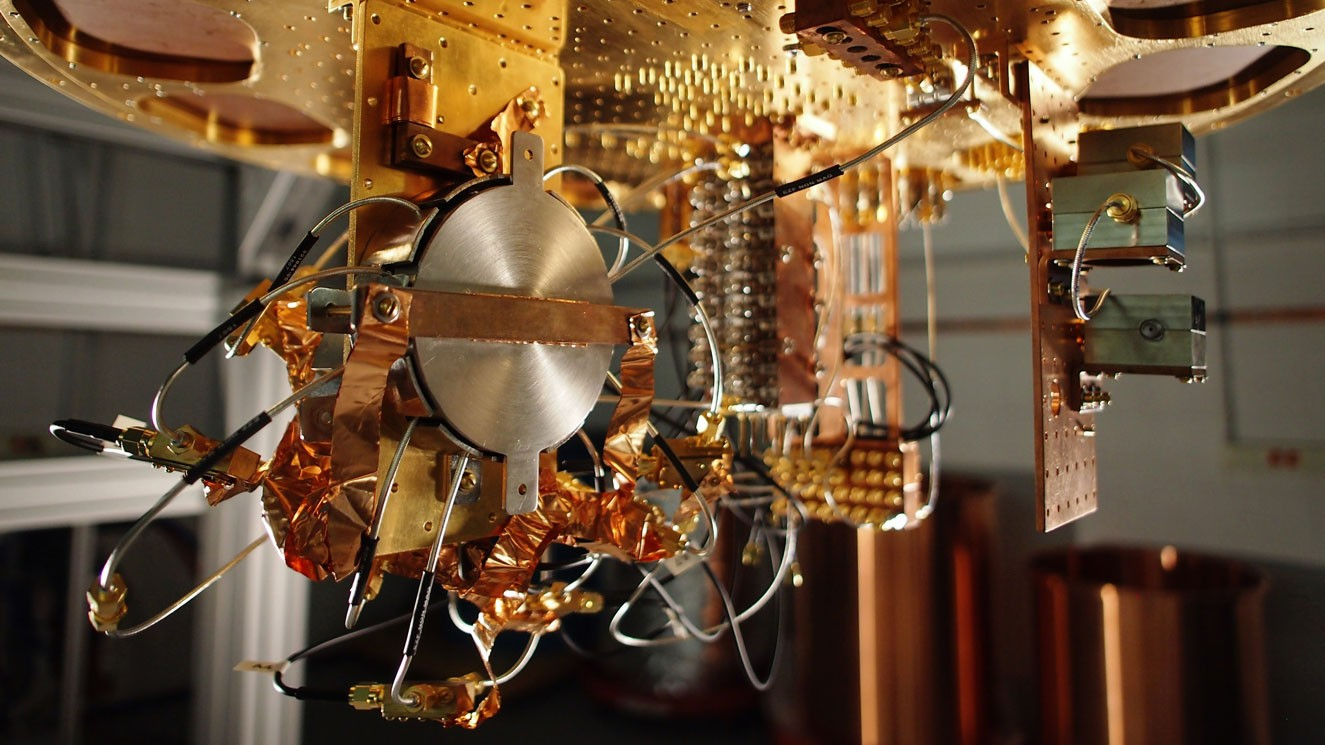 Superconducting quantum computer prototype at Google. Image credit: Google / MIT Technology Review.