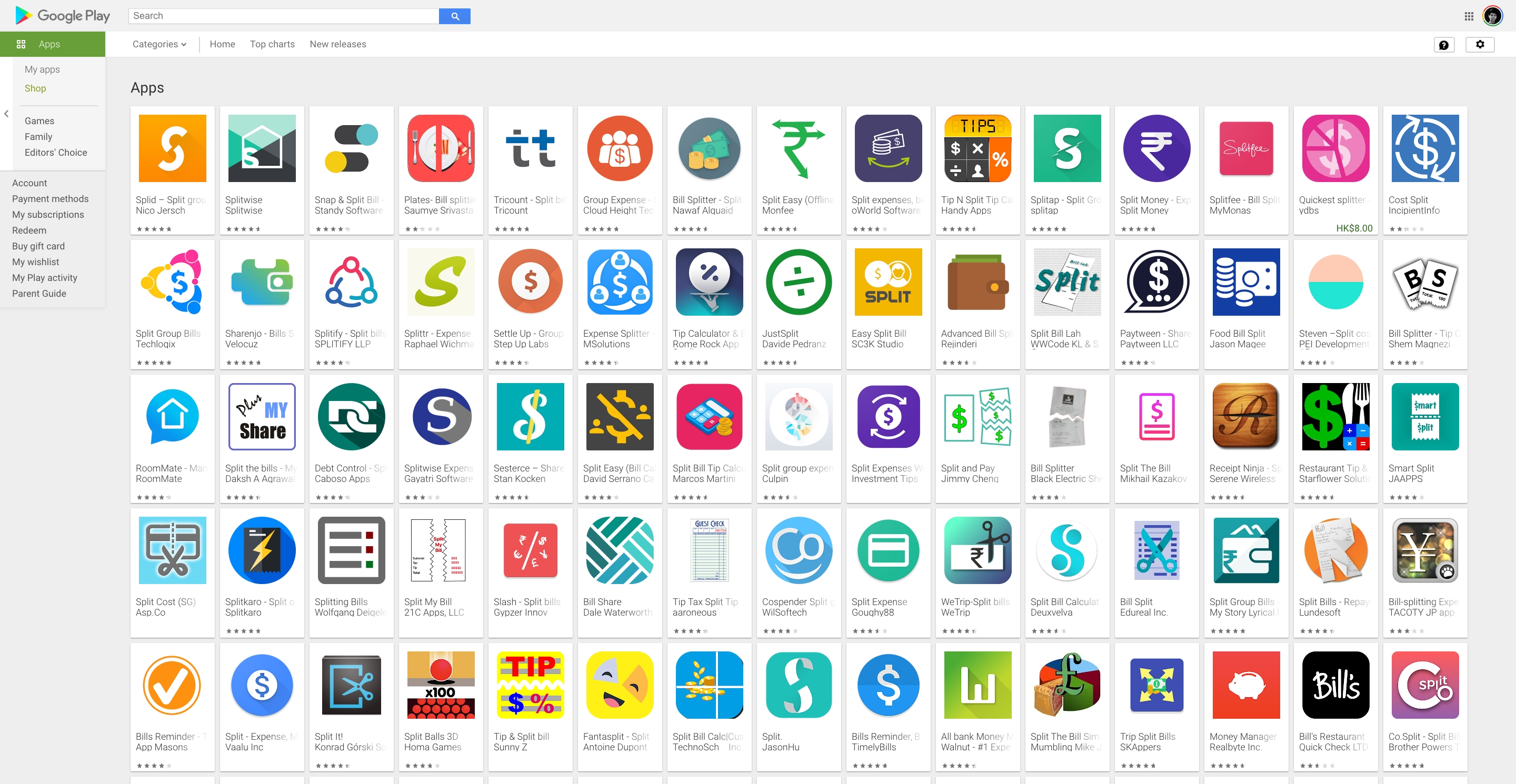 Over 1000 bill splitting apps available in Google Play store.
