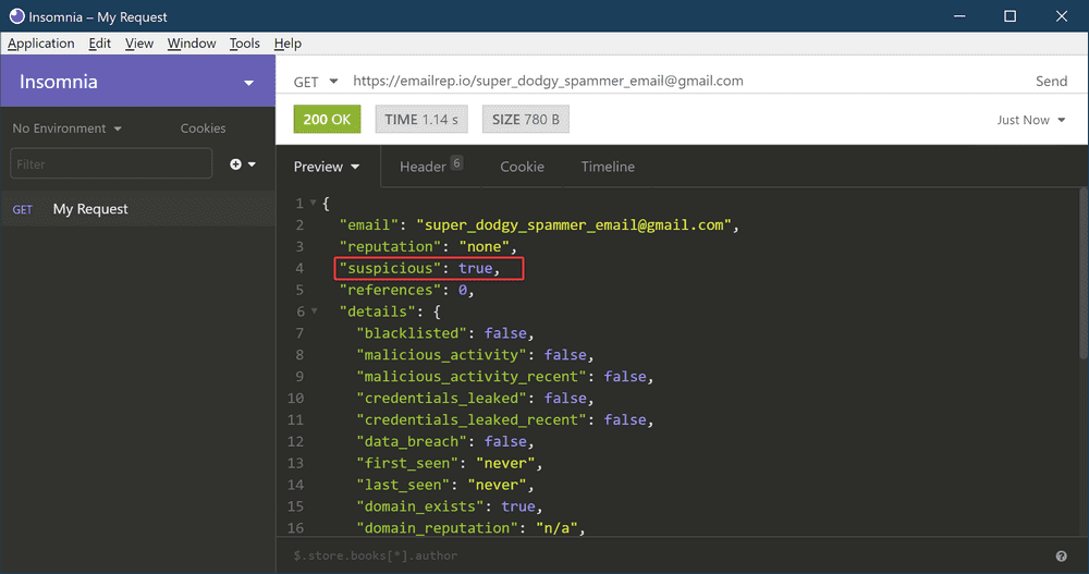 Testing the API endpoint with a dodgy email address