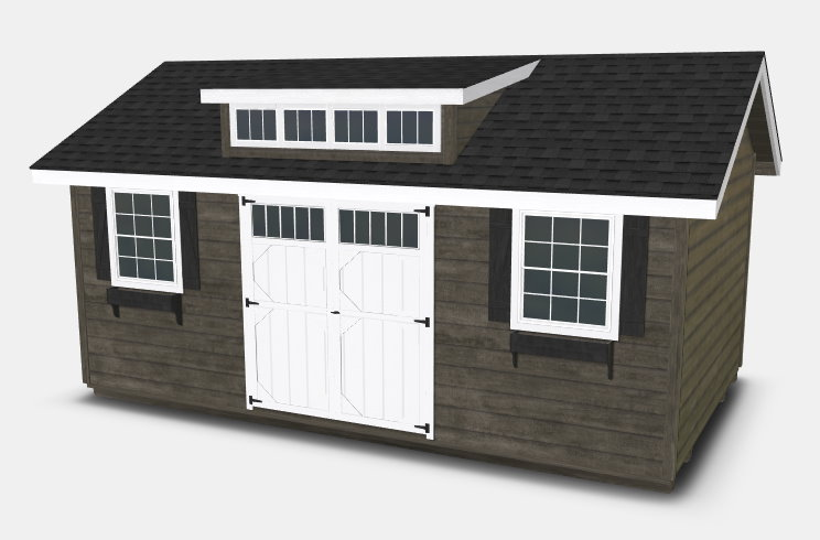 Woodtex's Heritage shed with a gable roof and dormer window, which will work well as a backyard office.
