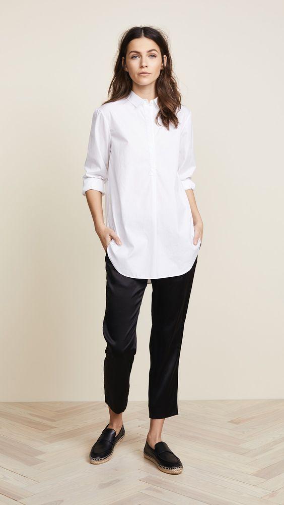 Chemise longue femme blanche