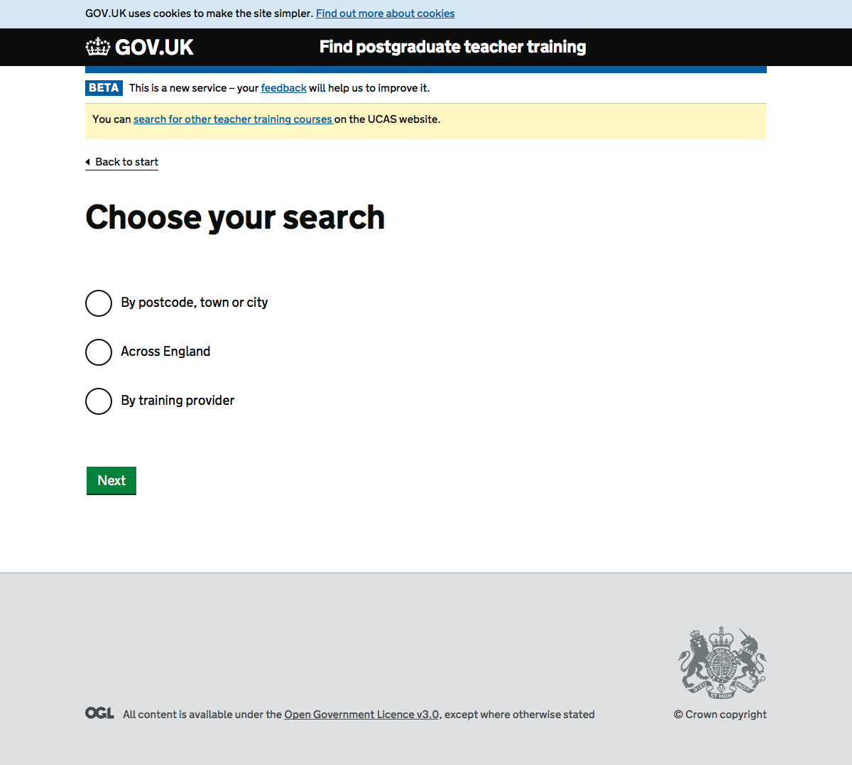 Screenshot of Choose your search