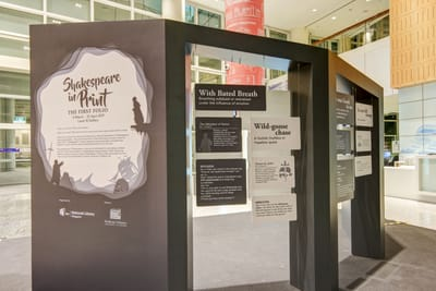 A photo of the lobby display. The introduction wall is on the left, while cut-out cards of explanations hang from wires in holes within the walls.