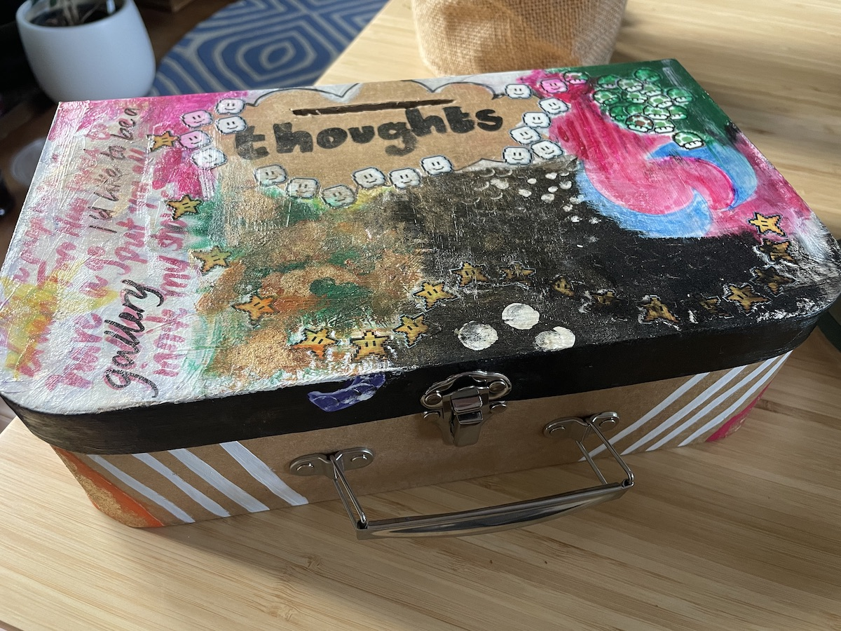 A collaged box that says Thoughts