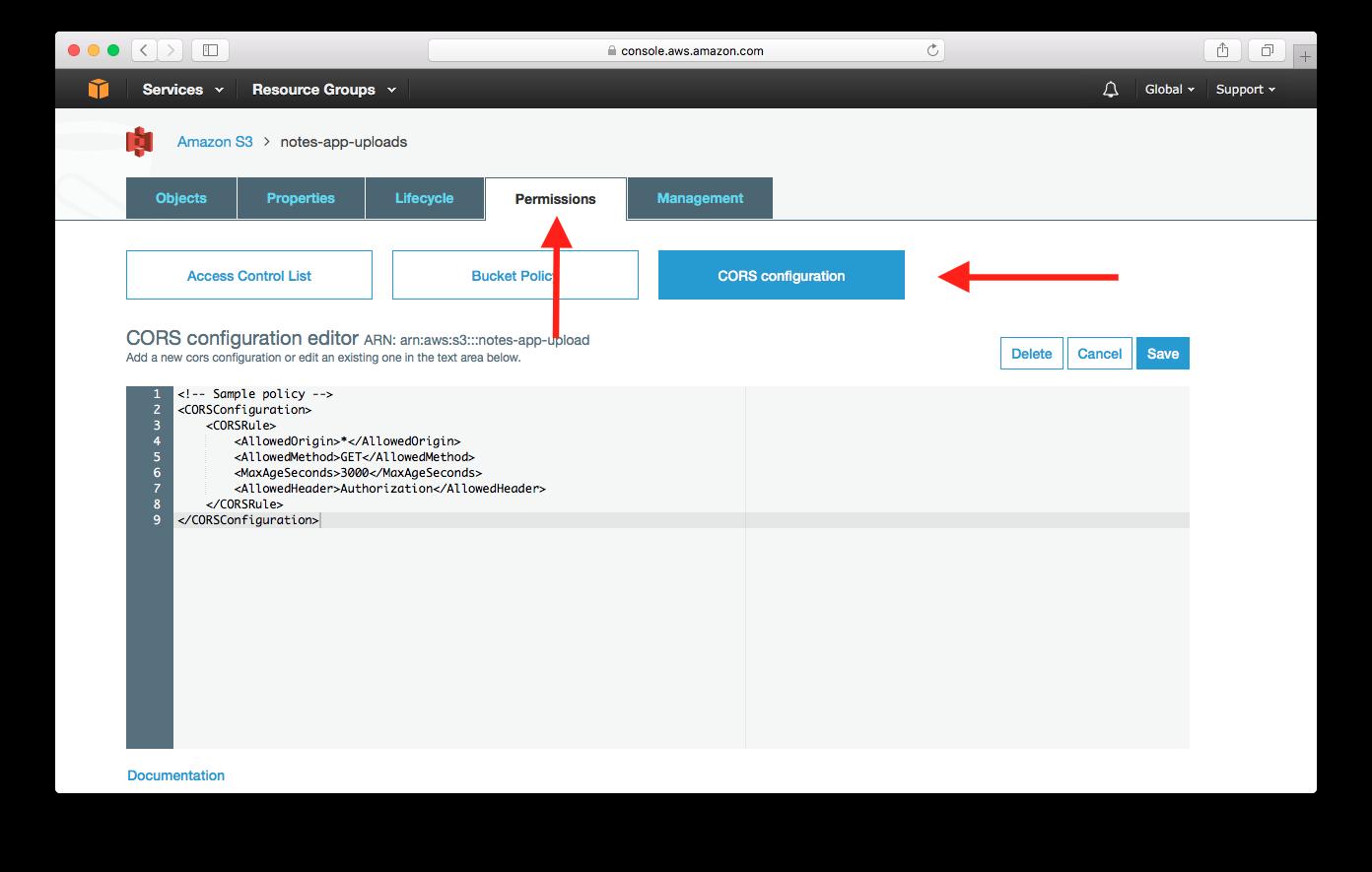 Select S3 Bucket CORS Configuration screenshot