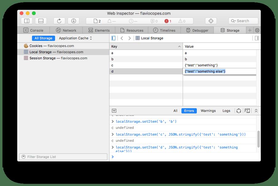 Safari DevTools local storage