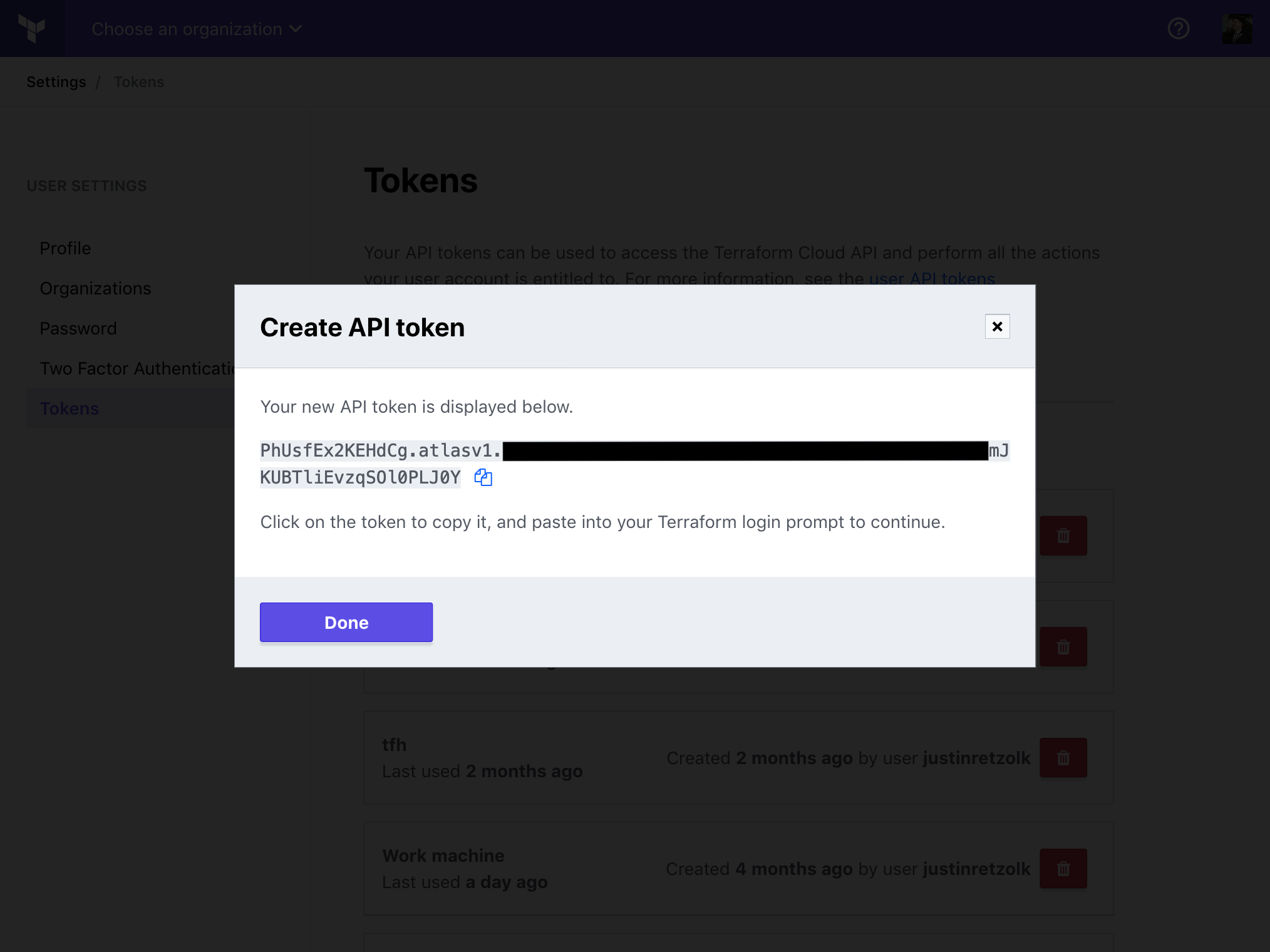 "Modal window in Terraform Cloud titled ""Create API token"". The window contains a token value."