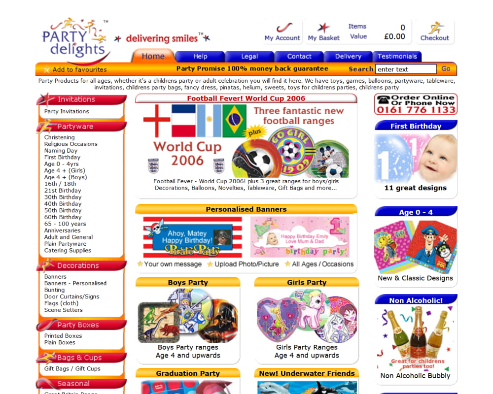 Party Delights website with white background, red and orange borders and updated dancing people logo.