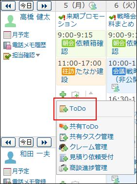 ToDoの操作リンクが赤枠で囲まれた画像
