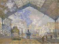 Monet's Gare Saint Lazare, a series of paintings of this famous Parisian station. Read the funny story of how Monet blagged his way in on this page.