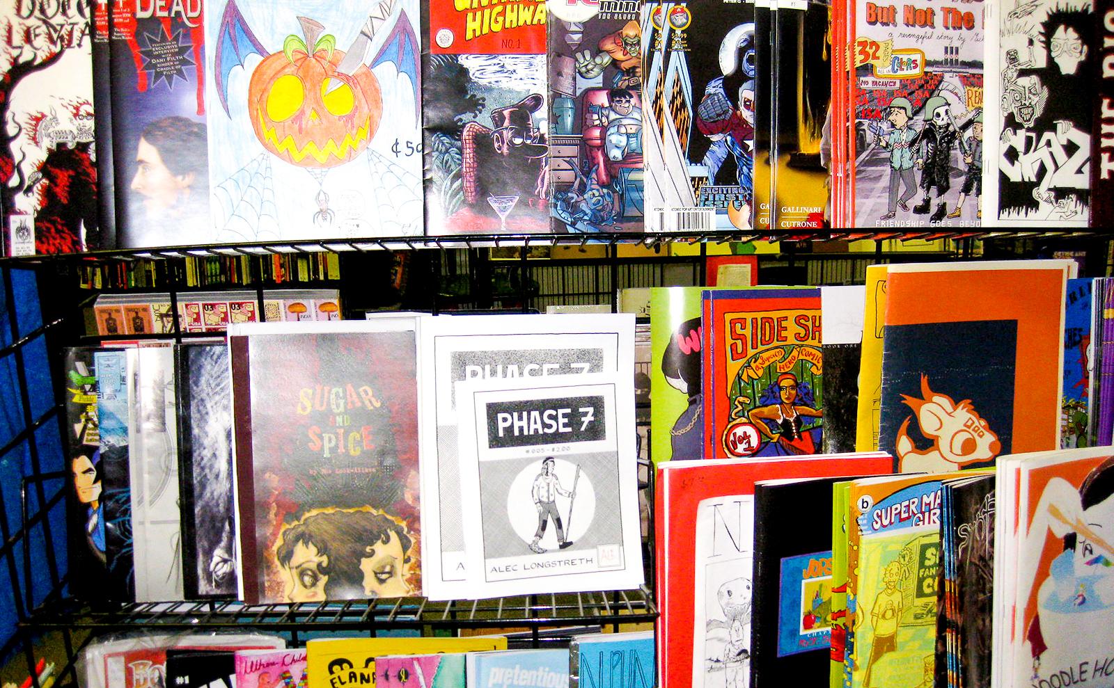 zines display at quimby's