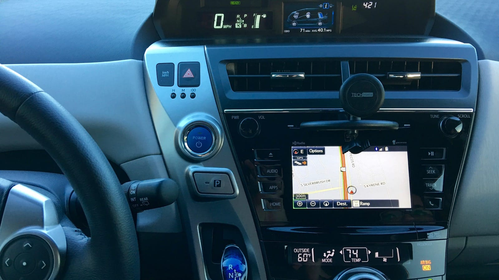 The cockpit of the 2016 Prius v