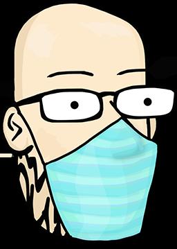 Animated Hank head wearing mask