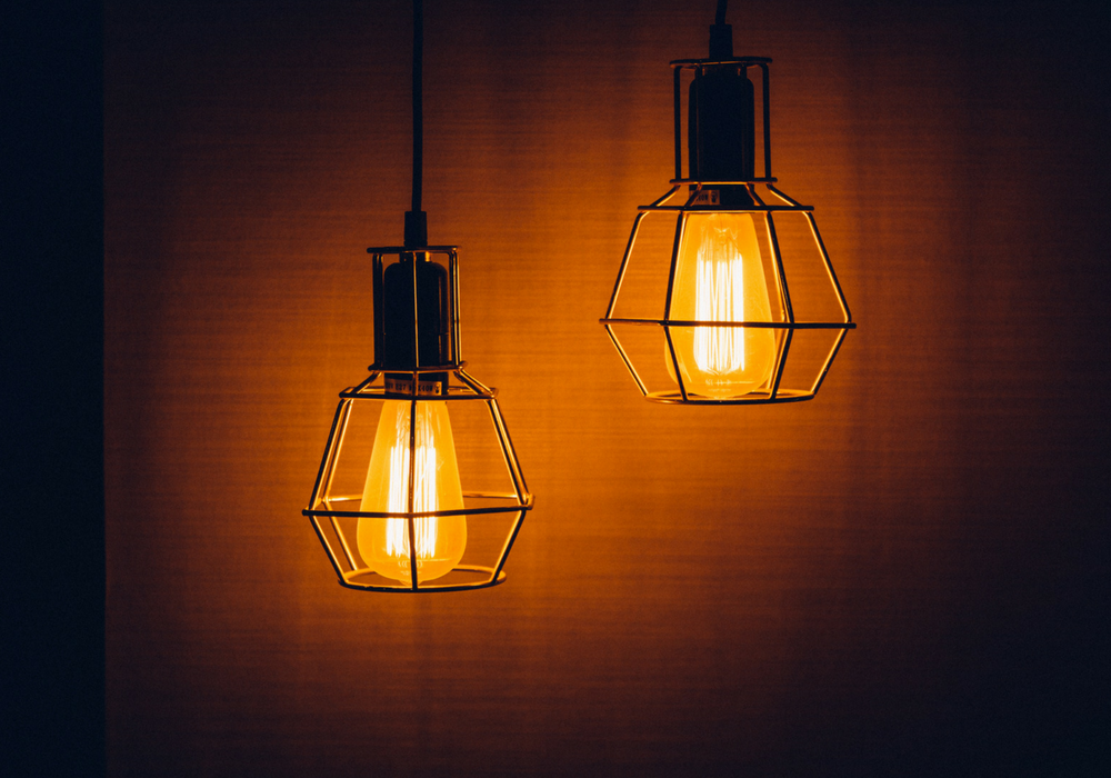 image of wired hanging light fixtures
