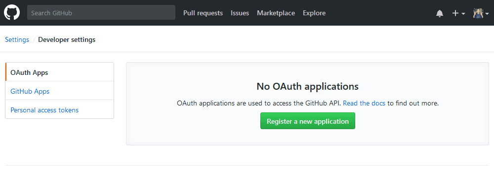 GitHub OAuth applications