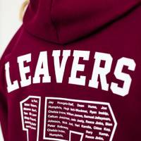 A hoodie with the word 'leavers' printed above the large number on the back of the hoodie.