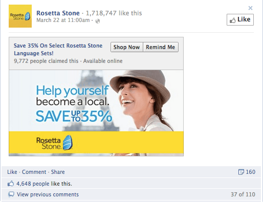 Ecommerce facebook offers