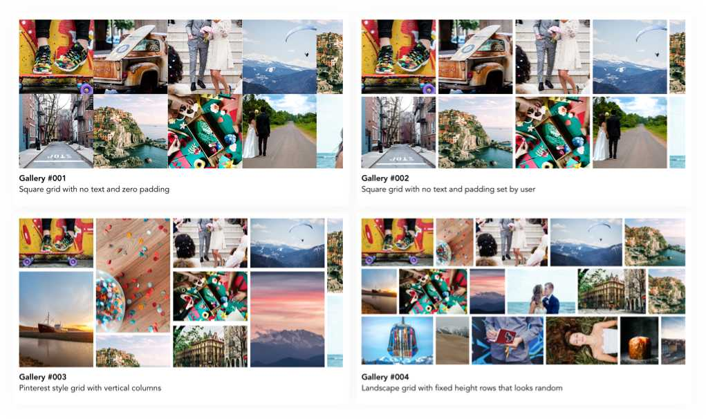 Different image grid options available to the customer