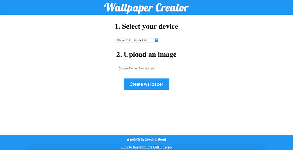 A screenshot of my Wallpaper Creator website