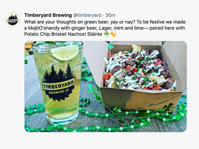 A tweet from Timberyard Brewing Company in East Brookfield, MA about their green beer