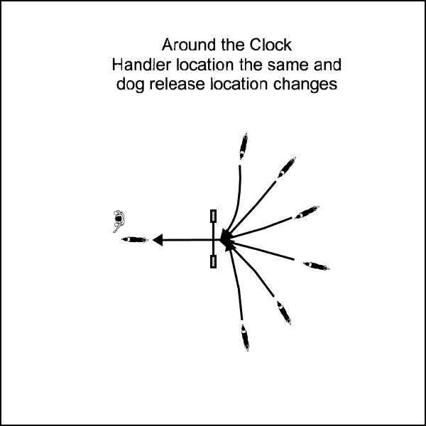 Recalling the dog over a jump with dog starting location arranged around the clock