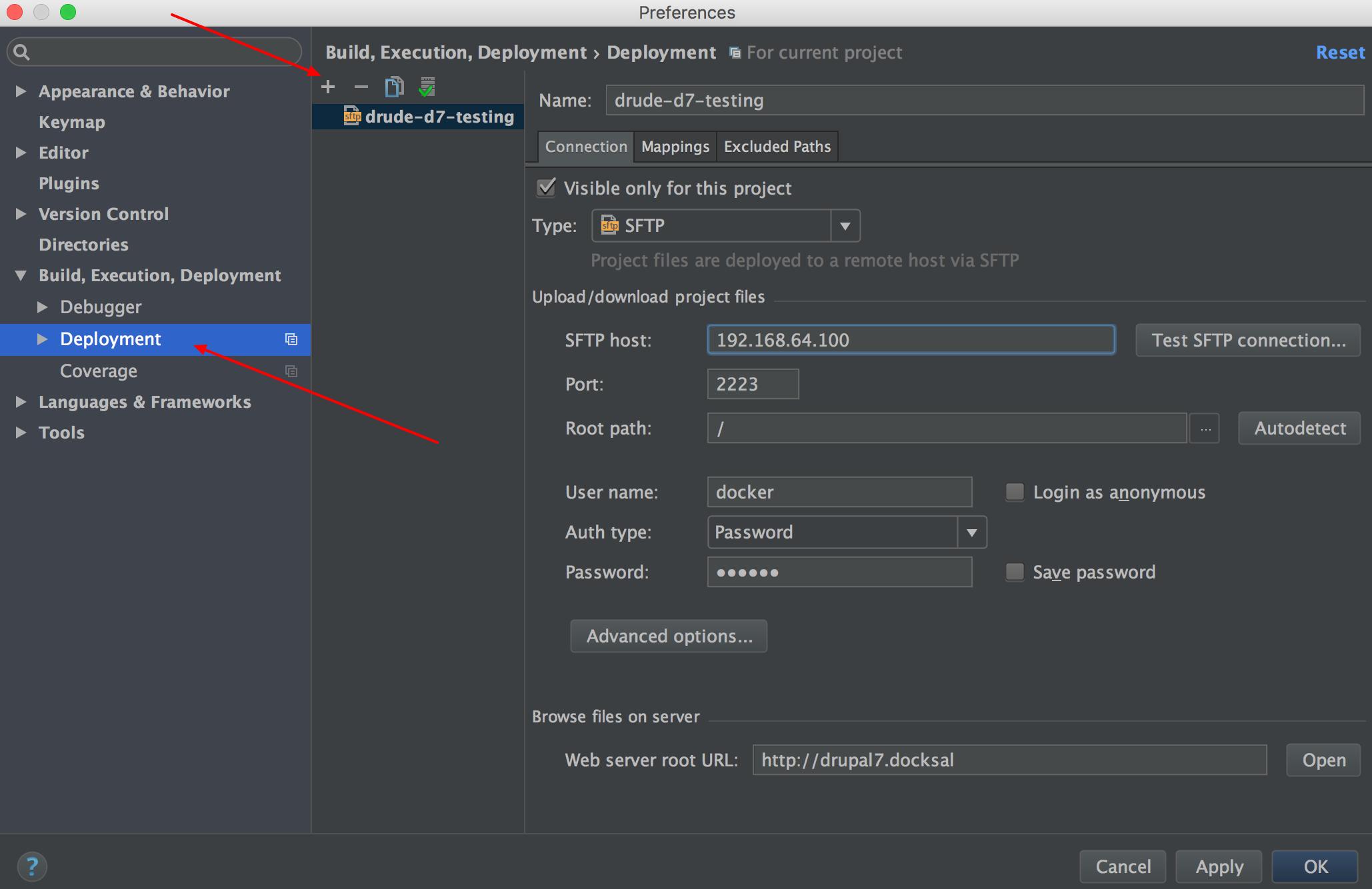PHPStorm deployment configuration