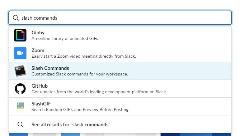 Add slash commands app to Slack