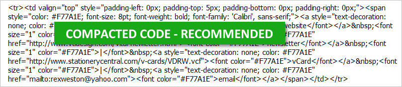 HTML Email Signatures - Compacted Code