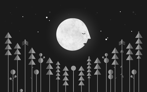 Illustration of a large anthropomorphized moon over pine trees