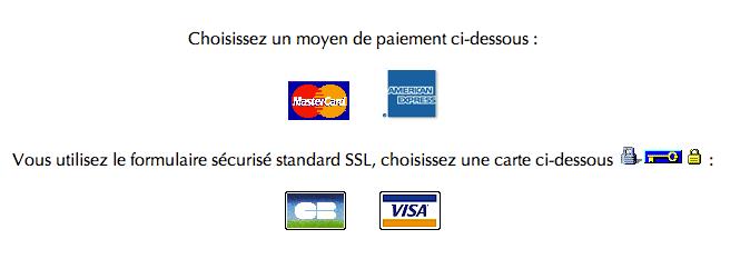 page de payement sélection des cartes