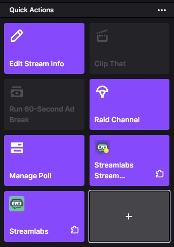 Twitch's quick actions interface