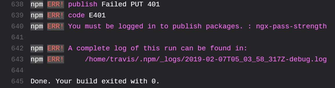 error 401 deploying to npm