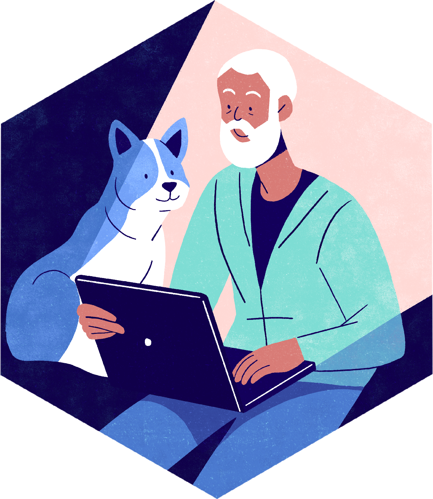 Person working at their laptop with a dog. Lydia Hill Illustration. All rights reserved.