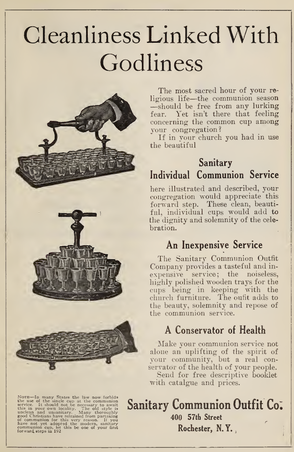 A 1922 ad for individual communion cups.