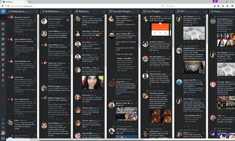 Screenshot of my Tweetdeck window
