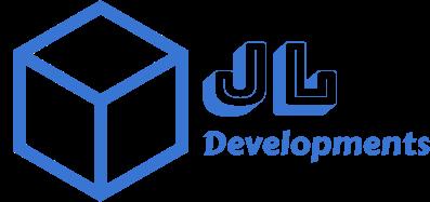 Logo da JL Developments com a imagem de um cubo azul e o nome da empresa em azul também