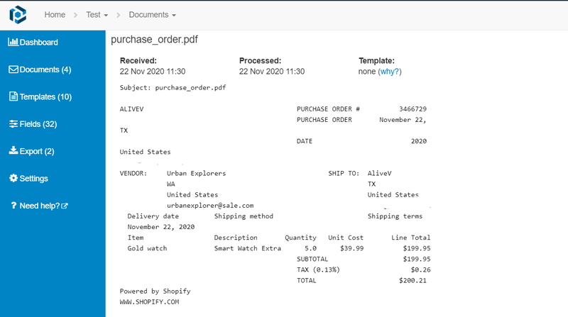 Shopify purchase order received in mailbox