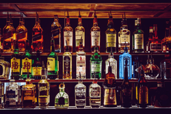 Top shelf alcohol on display.