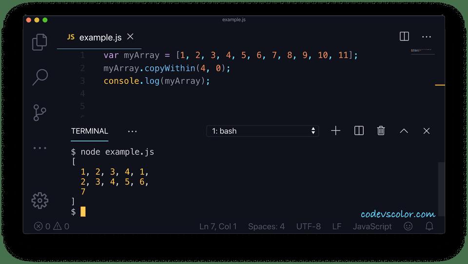 JavaScript copywithin example2