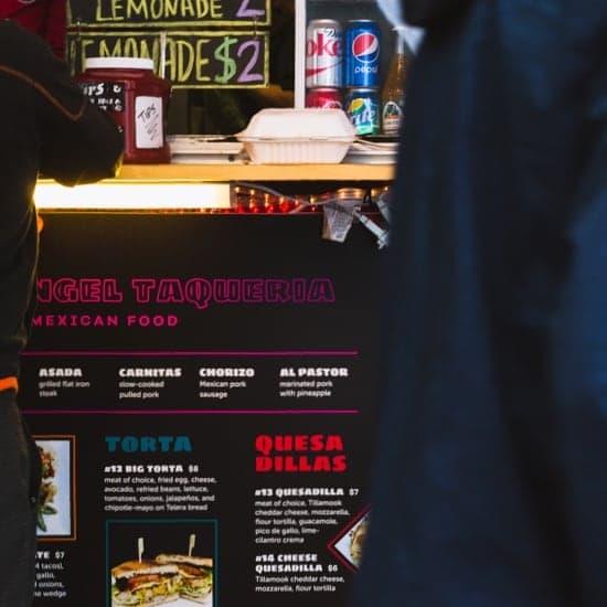 Angel Taqueria food cart menu design
