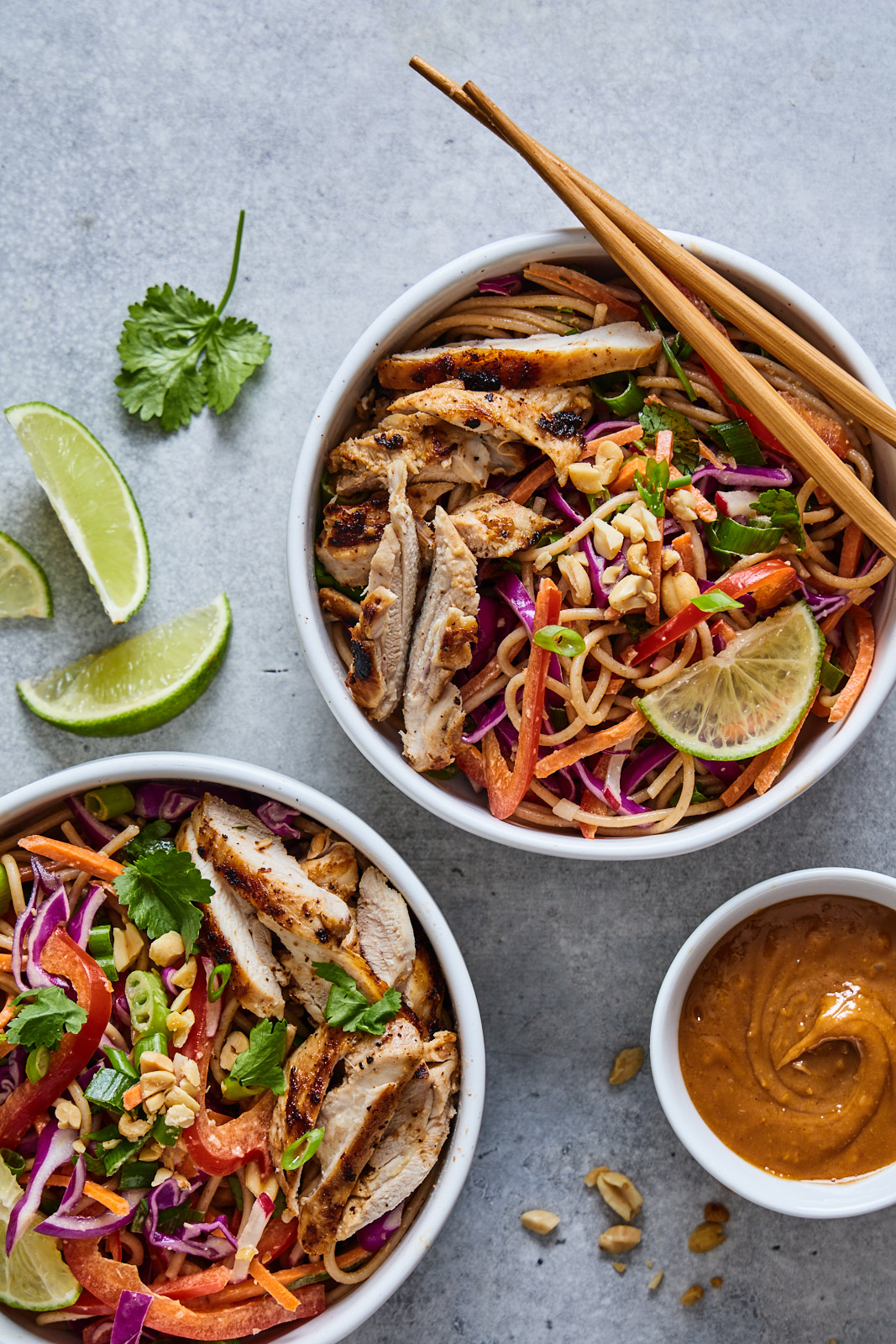 Cold Peanut Noodle Salad With Grilled Chicken