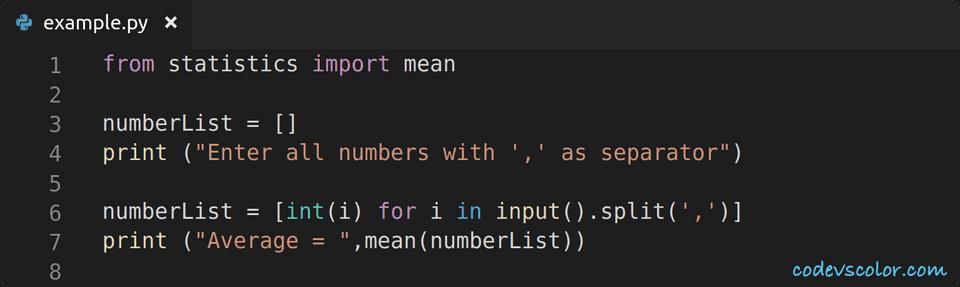 python find average of list using statistics module