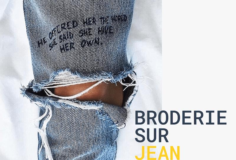 Broderie sur un jean