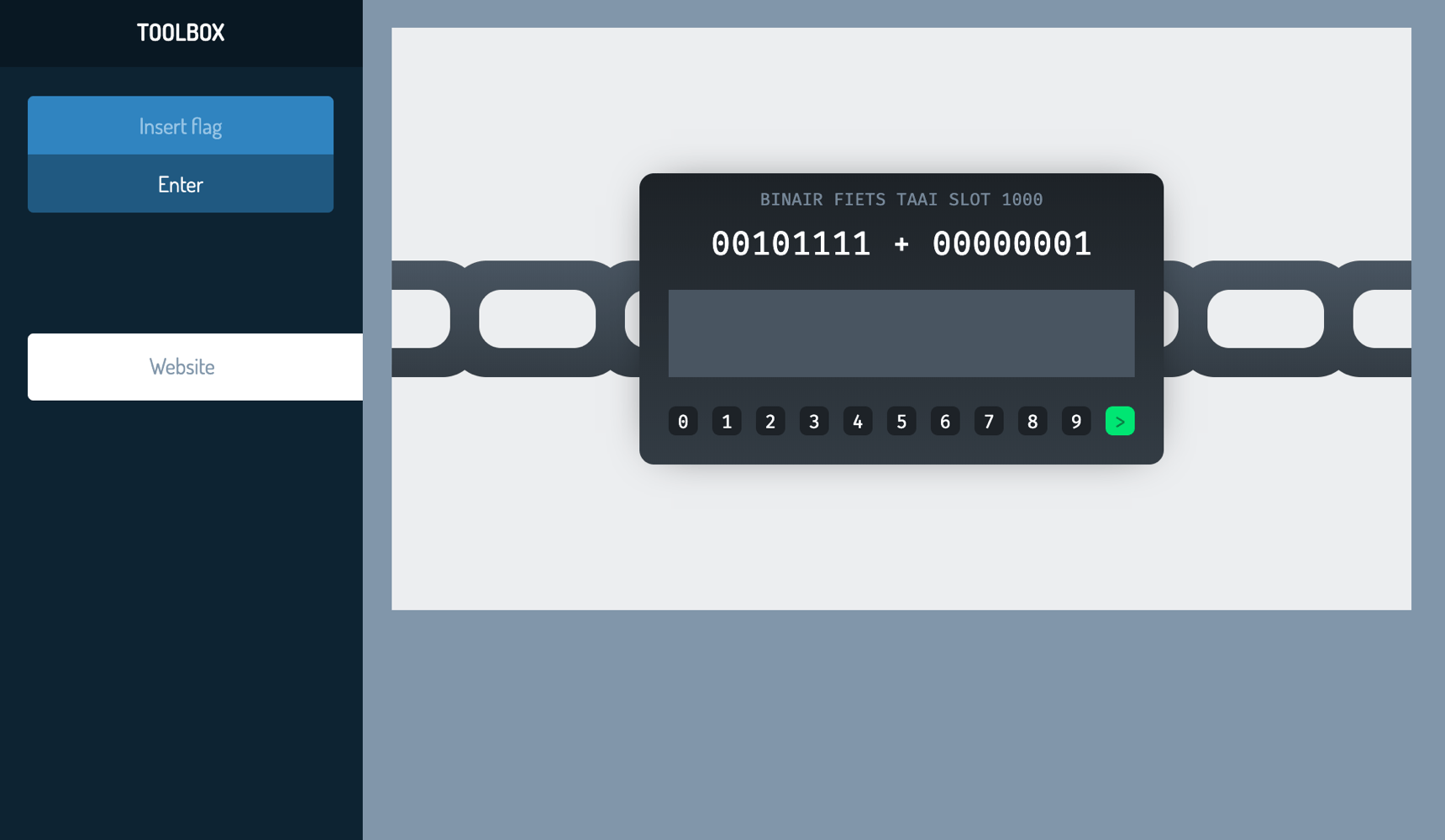 Example of a CyberStart challenge with a binary lock and chain