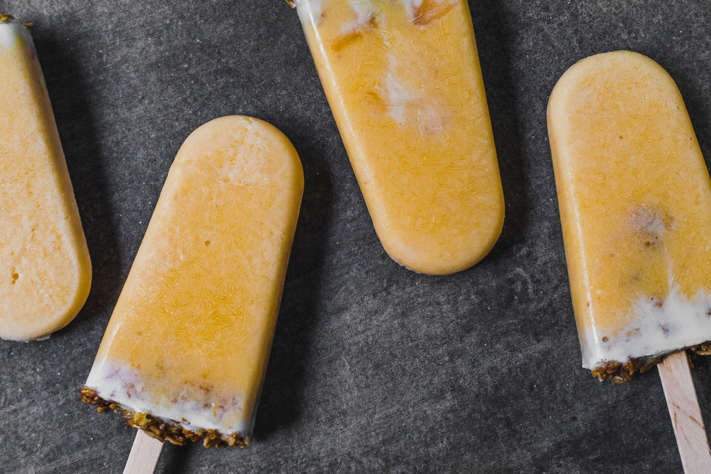 Peaches and cream yoghurt popsicles