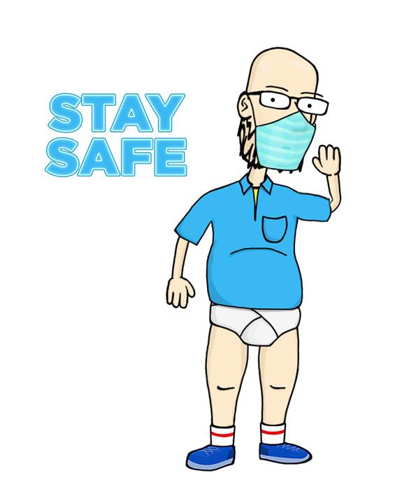 Hank wearing mask staying safe