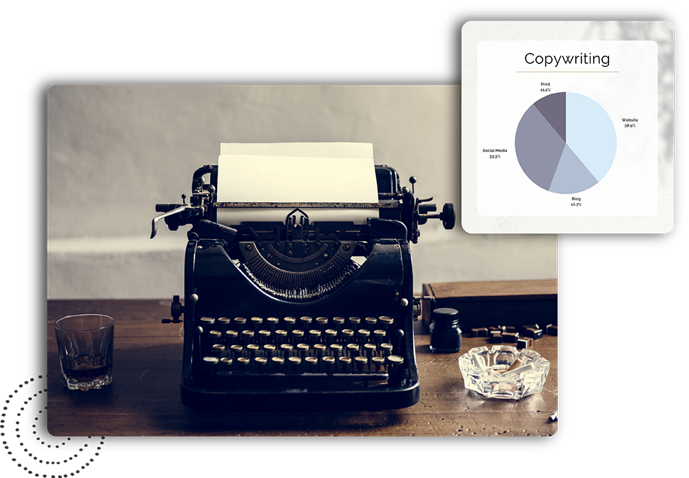 Old style typewriter with copywriting graph