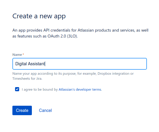 Create Atlassian app